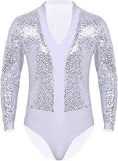 Men's Sequins V Neck Dance Shirts Lycra Unitard Ballroom Modern Latin Long Sleeve Dancewear