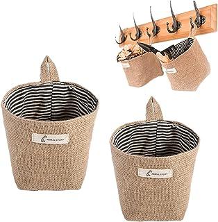 Acogedor Cotton Linen Storage Basket Wall Door Hanging Storage Bag Clothes Bag Home Gadget Storage Organizer Foldable Bask...