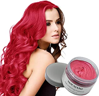 MOFAJANG Natural Hair Wax Color Styling Cream Mud, Natural Hairstyle Dye Pomade, Temporary Hairstyle Cream 4.23 oz, Hairstyle Wax for Men and Women (Red)