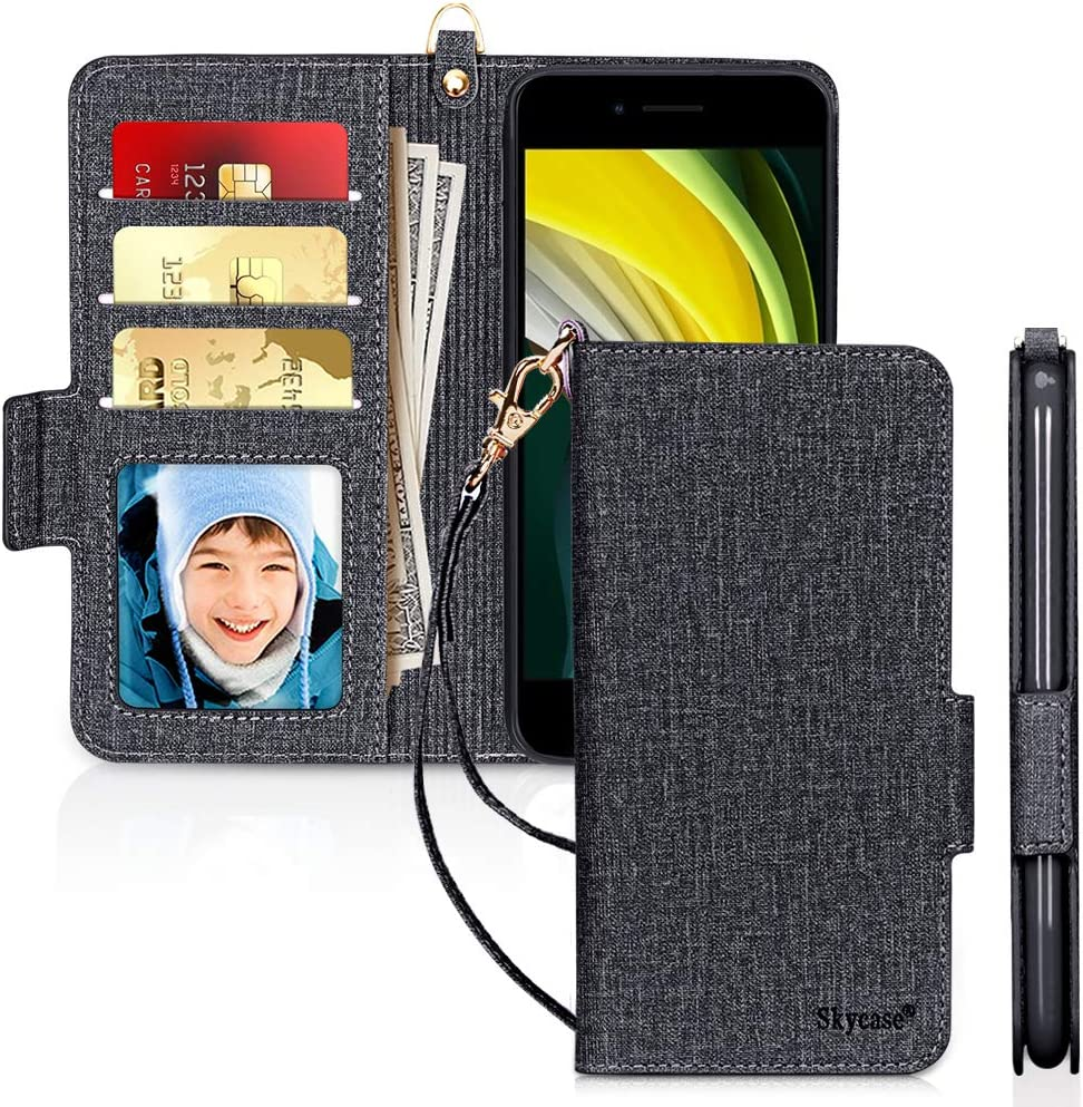 RFID Blocking iPhone SE Case 2020 4.7 Mar Black Skycase iPhone 7//8 4.7 Case, Handmade Flip Folio Wallet Case with Card Slots and Detachable Hand Strap for iPhone SE 2nd Generation,iPhone 7//8 4.7