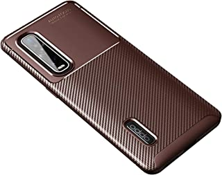 OPPO Find X2 Pro Case, Ikwcase Carbon Fibre Grip Slip-Resistant Soft TPU Silicone Shockproof Protection Case Cover for OPPO Find X2 Pro Brown