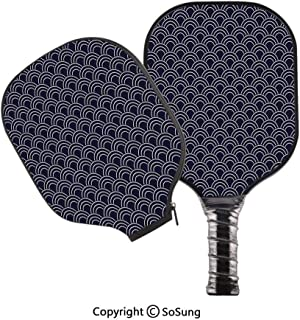 3D Print Graphite Pickleball Paddle Set,Marine Inspired Ornamental Abstract Sea Design with Half Circle Wave Pattern Decorative Pop Carbon Fiber Large Lightweight Top Professional Power Outdoor Racket