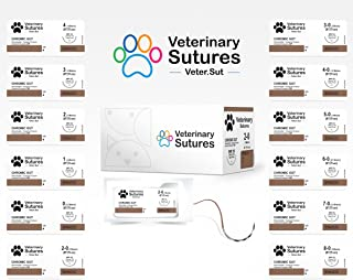 Veterinary Sutures Chromic Gut 2-0, 3/8 24mm Reverse Cutting