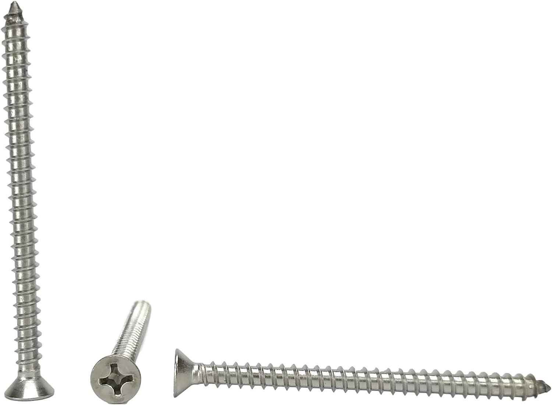 1//2 to 3 in Listing #12 X 1 Stainless Phillips Flat Head Sheetmetal Screw #12 x 1 100 Sheet Metal Screws 82 Degrees