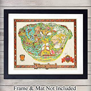 Disneyland Vintage Map - Unframed Wall Art Print - Makes a Great Gift for Disney Lovers - Disneyworld - Chic Home Decor for Boys or Girls Bedroom - Ready to Frame (8x10) Photo