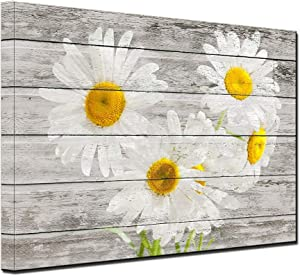 White Daisy Flowers Canvas Prints Bedroom Retro Picture Wall Art Yellow Daisy Flowers Wood Grain LOVE Heart Rustic Farmhouse Floral Wall Decor Living Room Office Vintage Home Decor Ready to Hang