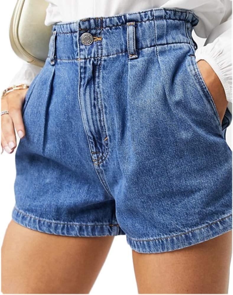 Women Casual High Waist Denim Shorts Summer Short Jeans Elastic Waist Shorts,M