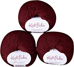Knit Picks Andean Treasure Baby Alpaca Sport Weight Yarn - 3 Pack with Free Patterns (Embers Heather)