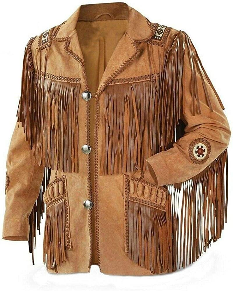 Western Fringed Boned Leather Jacket Mens Style Suede Fringe Native American Cowboy Leather coats - (Colour - Brown)