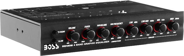 BOSS Audio Systems EQ1208 4 Band Pre-Amp Half-DIN Car Equalizer, Subfoofer Output, Dual..