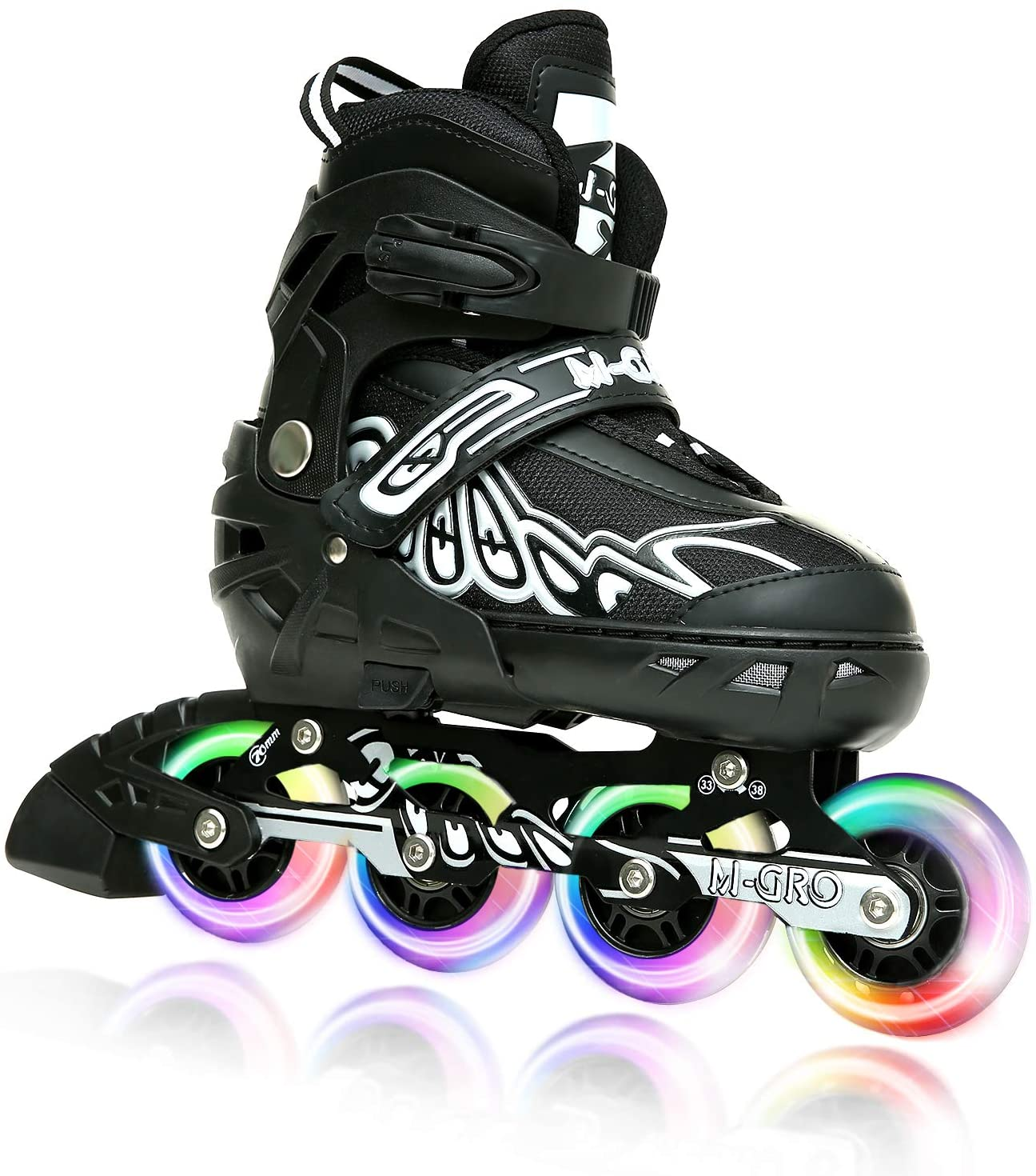 Girls M-GRO Adjustable Inline Skates for Kids and Adults with Featuring All Illuminating Wheels and Tool Outdoor Roller Skates for Women Men Boys Beginners and Professional Skaters
