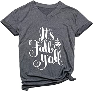 It's Fall Y`All V Neck T Shirt Thanksgiving Shirt Women Funny Cute Pumpkin Spice Everything Fall Graphic Tee Shirt