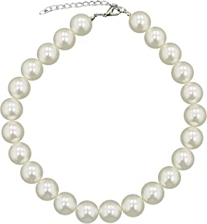 588e6ab43ae3 Caprilite 18mm Large Big Giant Faux Pearl Necklace Light Cream Vintage  Great Gatsby