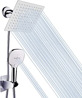 Shower Head with Hose, Luxurious Stainless Steel 8 Inch Rain Showerhead and 3 Settings Handheld Combo with Push Button Flow Control, with 60'' Hose and Holder (NearMoon Square Shower Head Set)