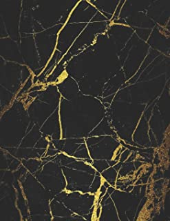 Notes: College Ruled Notebook | 120 Lined Pages | Large, 8.5 x 11 Inches | Journal, Diary, Subject Composition Book With A Black Marble With Gold Veins Cover