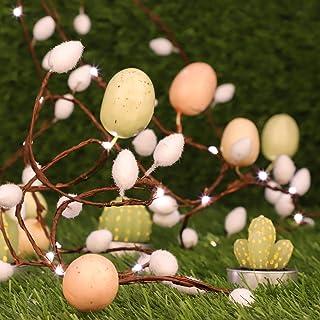 Impress Life Easter Egg String Lights, 10 ft 30 Led Battery USB Powered Fairy Lights (Cotton)