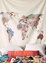 Arfbear World Map Tapestry, Wall hangings Yellow Purple Watercolor Nature Large tablecloths Wall for Bedroom Home Decor 59x59inches