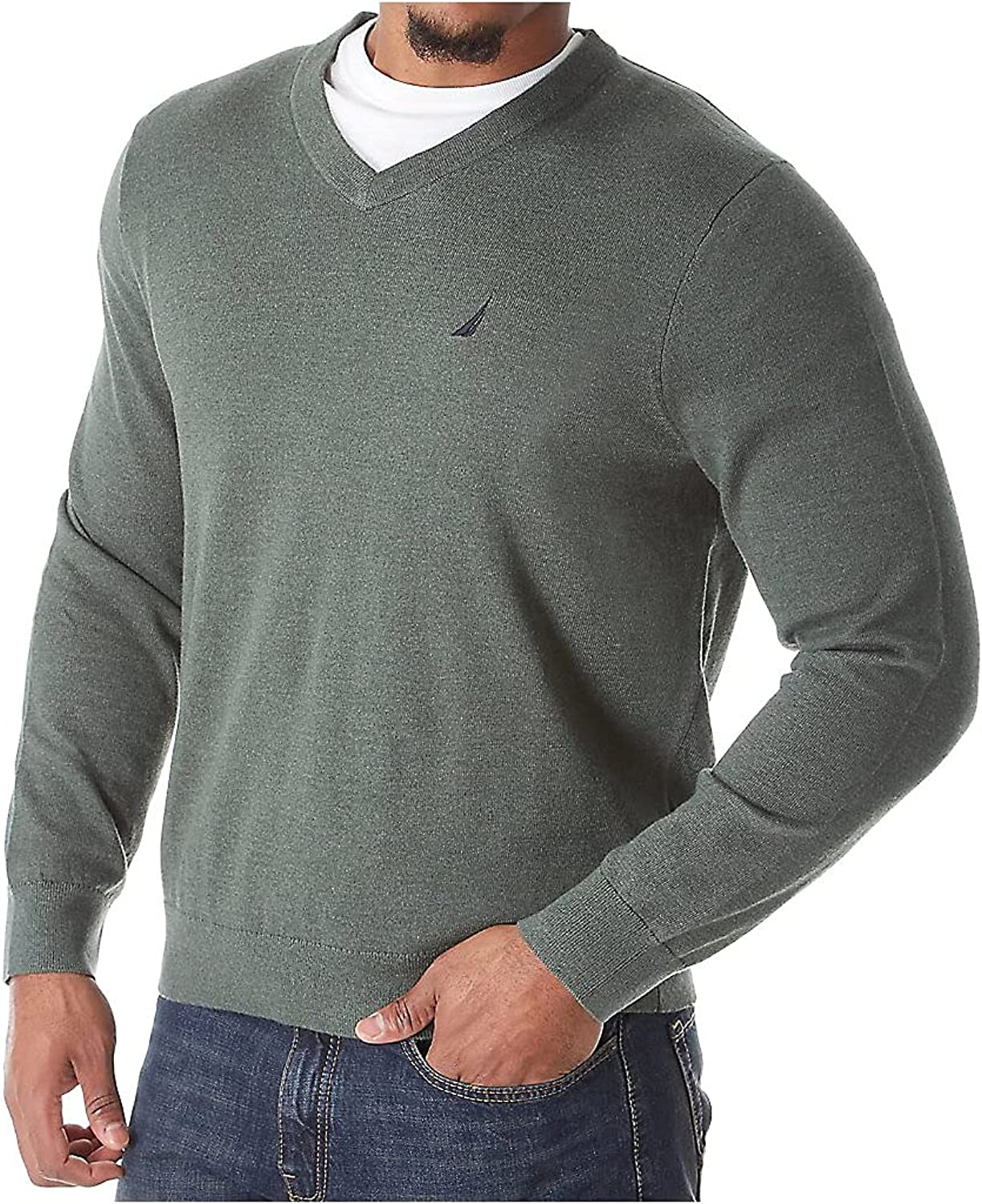 Nautica Men's Big and Tall Long Sleeve V Neck Jersey Sweater