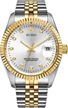 BUREI Men's Automatic Watch Sapphire Lens Date Display Two Tone Stainless Steel Band