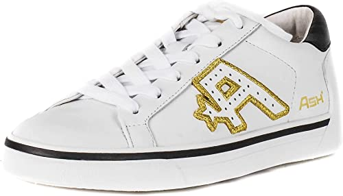 Ash Footwear Net blanc Leather Leather Leather Embroiderouge Trainer 856