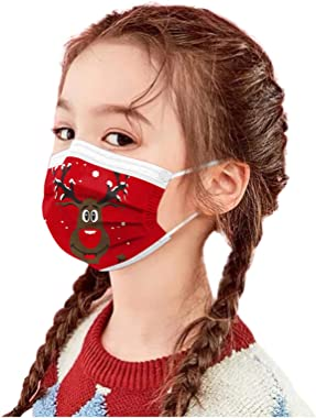 50pcs Children Festival Gift Christmas Elk Patern Prints Disposable Face_Mask, Kids Comfortable 3 -Layer Safety Protective Fa