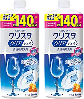 【Amazon.co.jp 限定】【まとめ買い 大容量】チャーミークリスタ クリアジェル 食洗機用洗剤 詰替大型 840g 2個パック