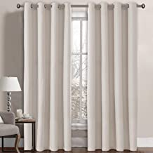 Linen Curtains Room Darkening Light Blocking Thermal Insulated Heavy Weight Textured Rich Linen Burlap Curtains for Bedroom / Living Room Curtain, 52 by 96 Inch - Ivory (1 Panel)