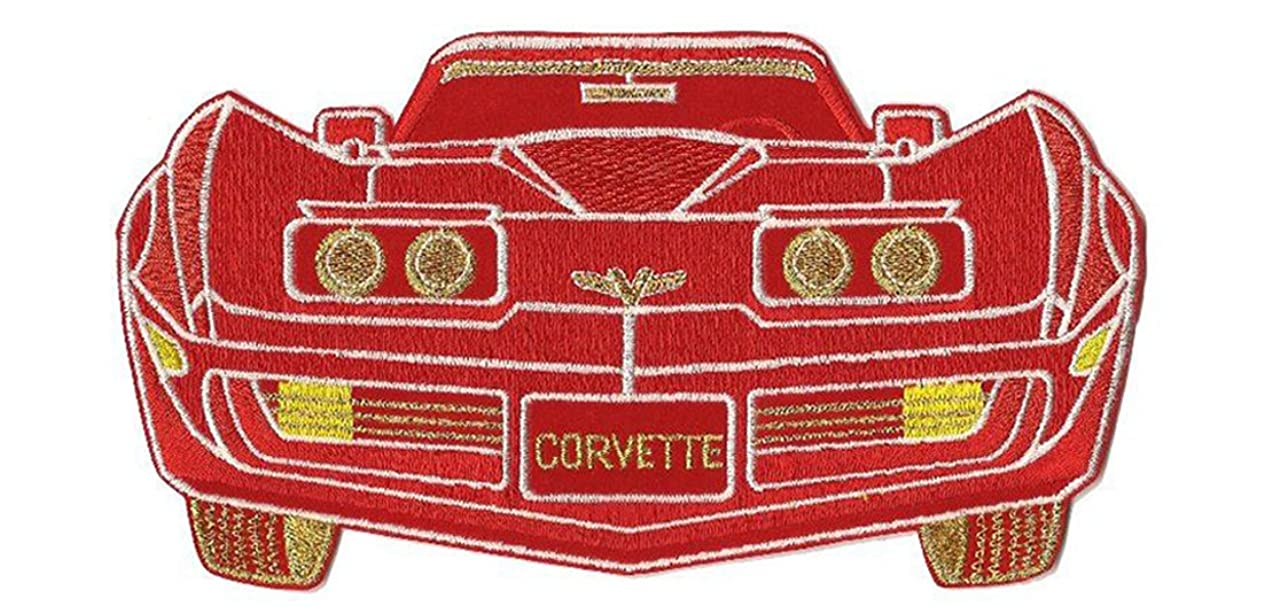 Chevrolet Corvette Patch Red or Black Car Premium Embroidered Iron on Large 9