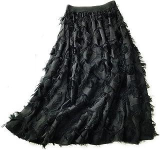 ZJMIYJ Kjolar för kvinnor - 3D-fjädrar Tutu kjol dam hög midja chiffong svart vit chic A-linje midikjolar vårmode damkläde...