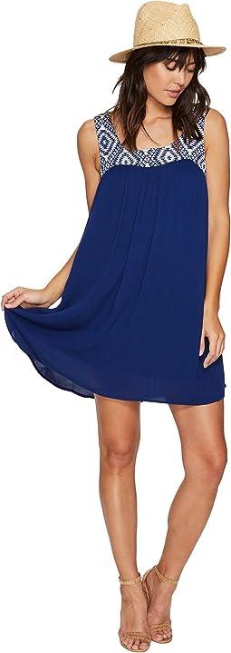 Glyins Jacquard Yoke + Crinkle Rayon Dress