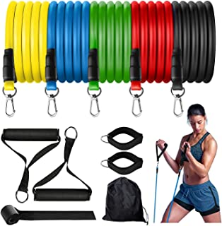 OBEST Resistance Bands Set 11 Pack, Portable Indoor Gym Accessories Including 5 Stackable with Door Anchor 2 Foam Handle, ...