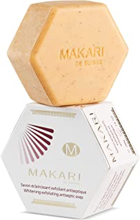 MAKARI Classic Whitening Exfoliating Antiseptic Soap 7 Oz.– Cleansing & Moisturizing Bar Soap For Face & Body – Brightens Skin & Fades Dark Spots, Acne Scars, Blemishes & Hyperpigmentation