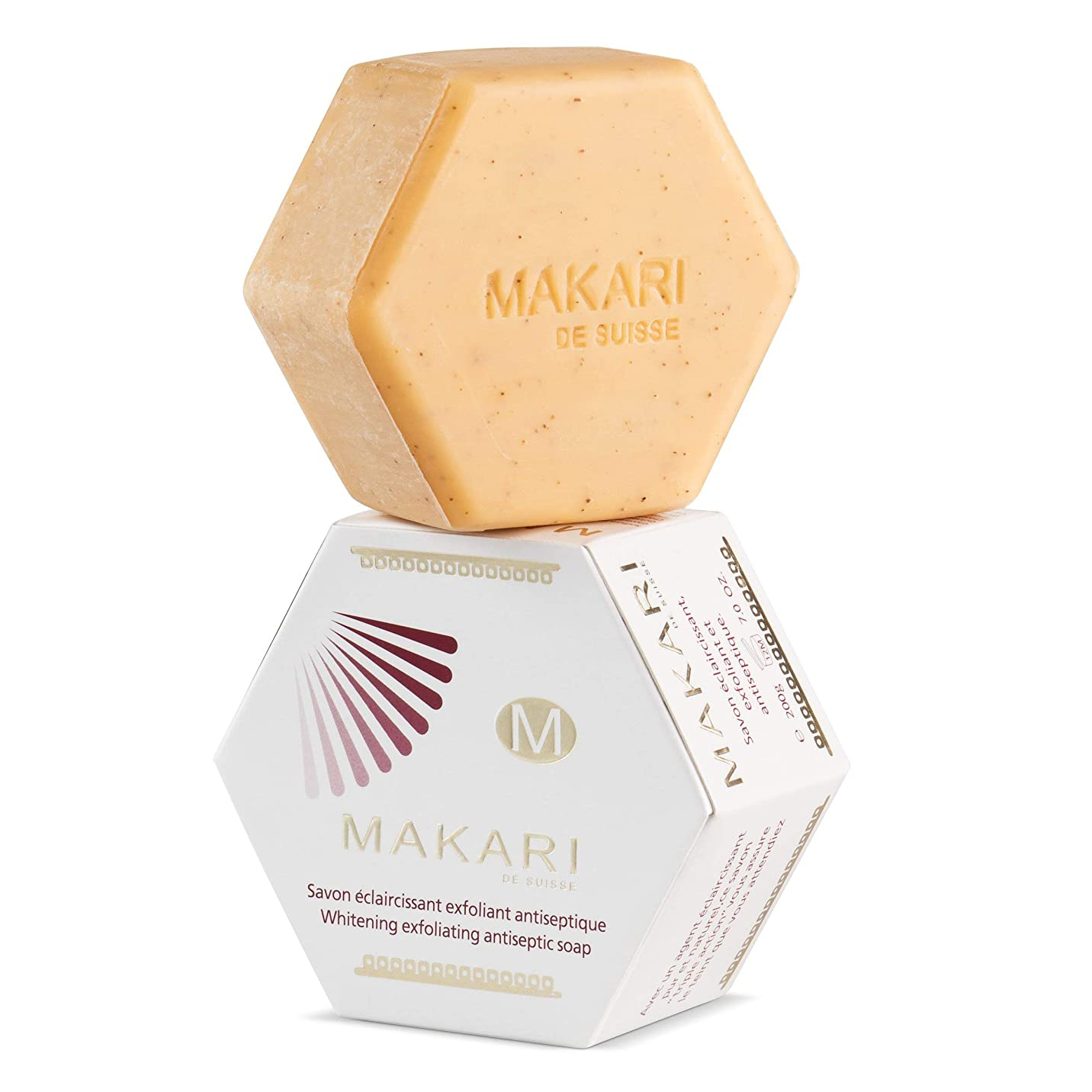 防腐剤寺院フィクションMAKARI Classic Whitening Exfoliating Antiseptic Soap 7 Oz.– Cleansing & Moisturizing Bar Soap For Face & Body – Brightens Skin & Fades Dark Spots, Acne Scars, Blemishes & Hyperpigmentation