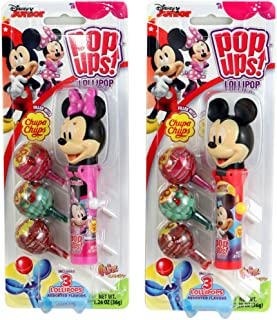 Disney Mickey and Minnie Mouse Pop Ups Lollipop Case with Chupa Chups, 1.26 oz (Pack of 2)