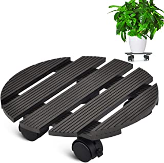 CERBIOR Plant Caddy Heavy Duty Plant Caddy with Wheels Indoor/Outdoor Holds Up 12 Inches and 80 Lbs Strong and Sturdy Design (Round, Charcoal)