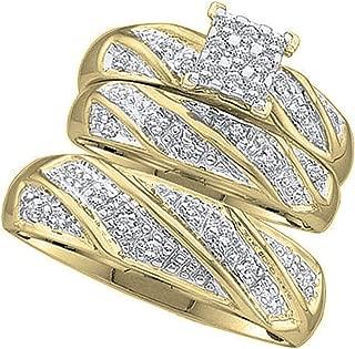 Dazzlingrock Collection 0.30 Carat (ctw) Round White Diamond Cluster Mens & Womens Wedding Engagement Bridal Trio Set 1/3 CT, 10K Yellow Gold
