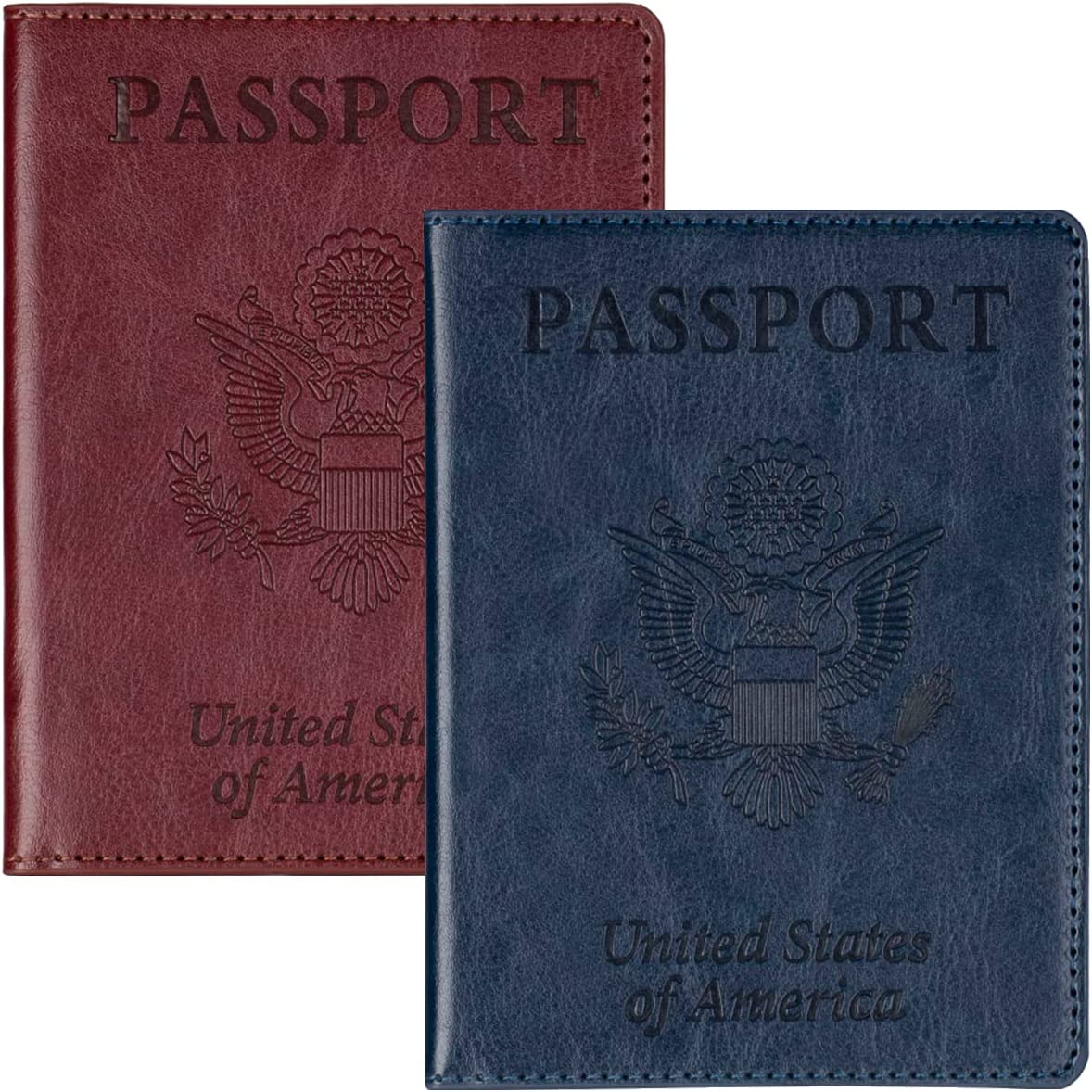 2 Pack Leather online shopping Passport Directly managed store Holder Card C Slot Vaccine with