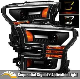 AlphaRex Black 15-17 For Ford F150 Halogen Type Black LED Tube Dual Projector Headlights with Switchback DRL/Sequential Signal/Activation Light