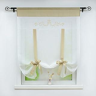 bianco BxH 100x140cm tenda a pacchetto da cucina con coulisse tenda a pacchetto in lino bianco 100/% poliestere Schoal tenda moderna 1 pezzo