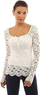Shirts Bk Women's Henley Long Sleeve Scalloped Hem Lace Blouse and XL Shirt