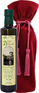 Papa Vince Gift Set Olive Oil - Extra Virgin First Cold Pressed from our family in Sicily, Italy, Unblended, Unfiltered, Unrefined, Robust, Rich in Antioxidant   Burlap bag   16.9 fl oz