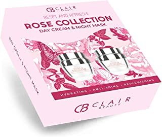 CLAIR BEAUTY Rose Anti Aging Day Cream & Sleep Mask Collection Gift Set - Moisturizing, Firming, Lifting & Rejuvenating | ...