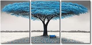Handmade Modern Oil Painting Landscape Canvas Wall Art Decor Blue Tree Artwork