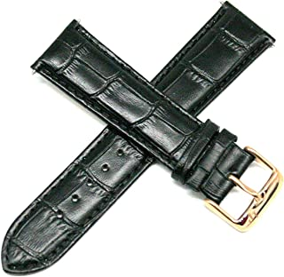 Lucien Piccard 22MM Alligator Grain Genuine Leather Watch Strap 8 Inches Black Rose Gold Buckle