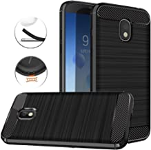for Samsung Galaxy J3 2018, J3 V 3rd Gen, Express Prime 3, J3 Orbit,J3 Star, J3 Achieve, Amp Prime 3 Case, Dretal Carbon Fiber Brushed Texture Soft TPU Protective Cover (Black)
