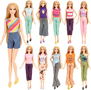 BARWA 5 Sets Handmade Blouse with Trousers Pants for 11.5 Inch Girl Doll Xmas Gift