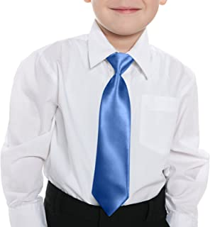 GASSANI Pretied Kids Necktie with Elastic Strap Shiny Satin Boys Tie