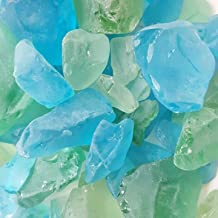 WeJe Glass Gems Sea Glass Chunks for Home Decor Art Craft Vase Filler Aquarium Gravel (28oz (1.75 LB), Mixed Frosted Green & Turquoise)