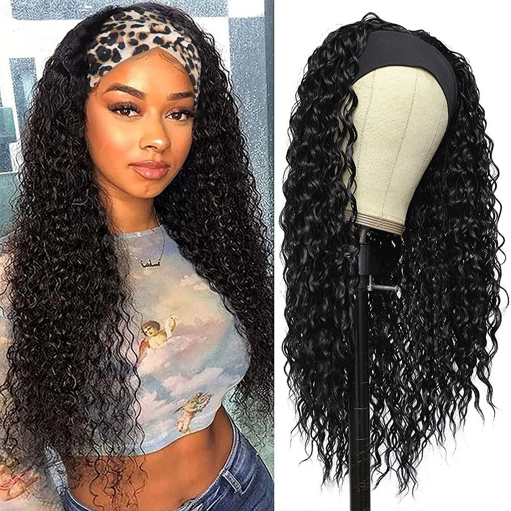 Amznlady Headband Wigs Curly Wave Black Human Hair Genuine Free Large discharge sale Shipping for Wome
