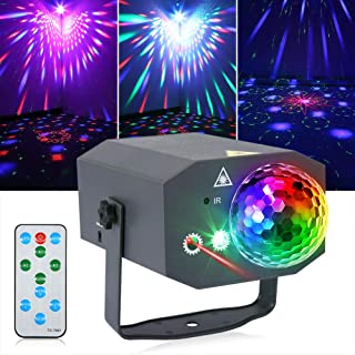 Litake Party Lights + Disco Ball 2 in 1 Dj Disco Stage Lights LED Projector Strobe Light, Sound Activated with Remote for ...